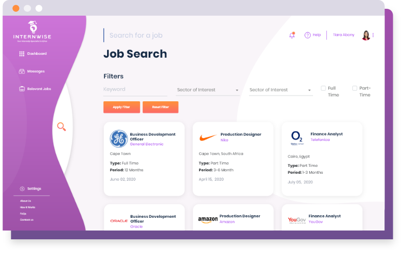 Search and apply for Internships